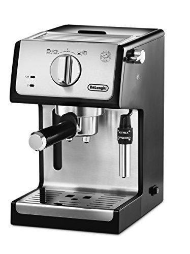 Cafetera espresso manual De'longhi para 2 tazas, negro y plata