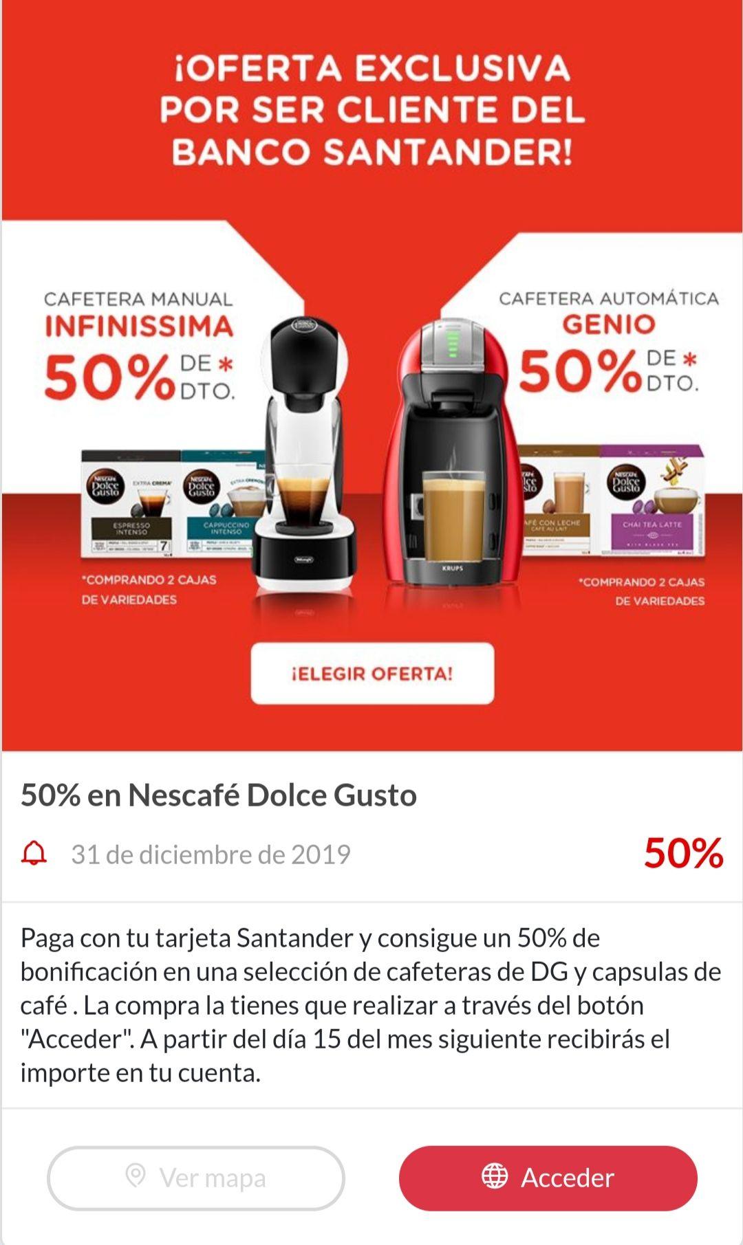 Nescafe Dolce Gusto Infinissima o Genio al 50% con Santander Shopping