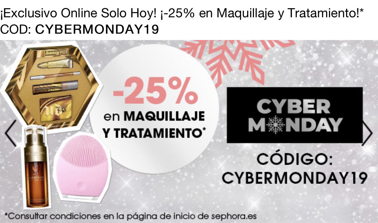 25% de descuento en Sephora - No acumulable a artículos rebajados.
