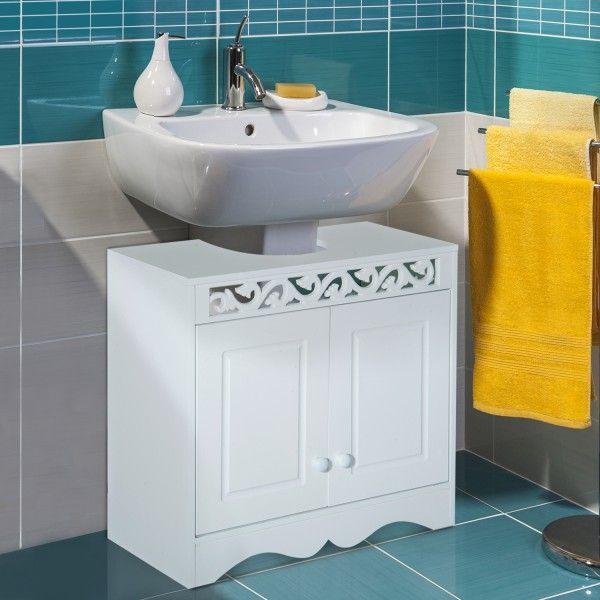 Armario de Baño Bajo para Lavabo con 2 Puertas y Estantes - Blanco - 60x30x56cm