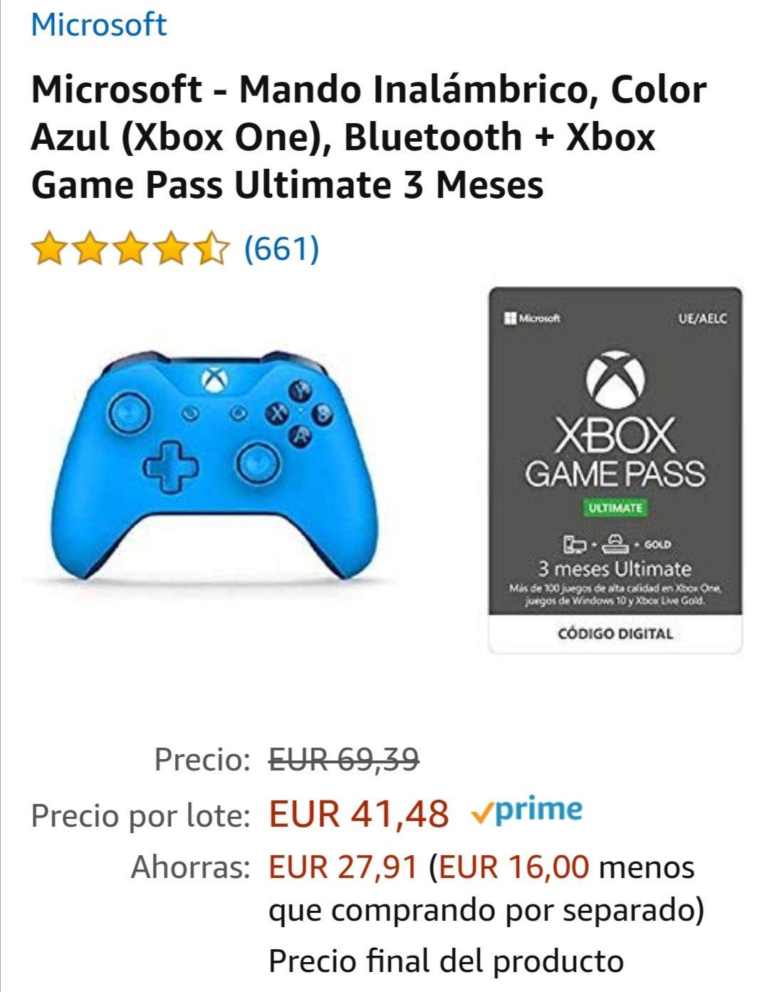Mando Xbox One Inalámbrico, Color Azul, Bluetooth + Xbox Game Pass Ultimate 3 Meses