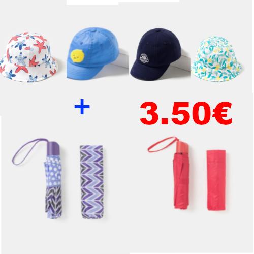 4 gorritos + 2 paraguas (o gorras, cuellos, bolsas de deporte...) por 3,50€