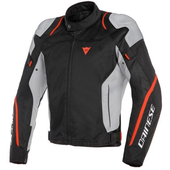 Chaqueta de moto Dainese AIR MASTER TEX BLACK / GLACIER-GRAY / FLUO-RED
