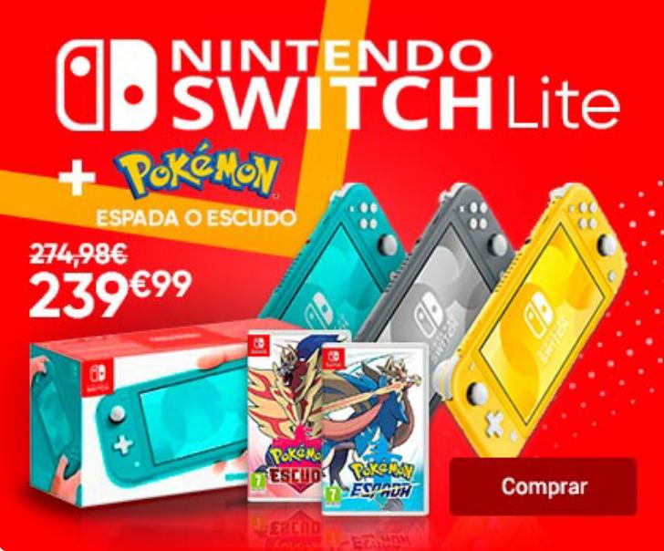 Nintendo Switch Lite + Pokémon Espada/Escudo en Fnac por 239,99€.