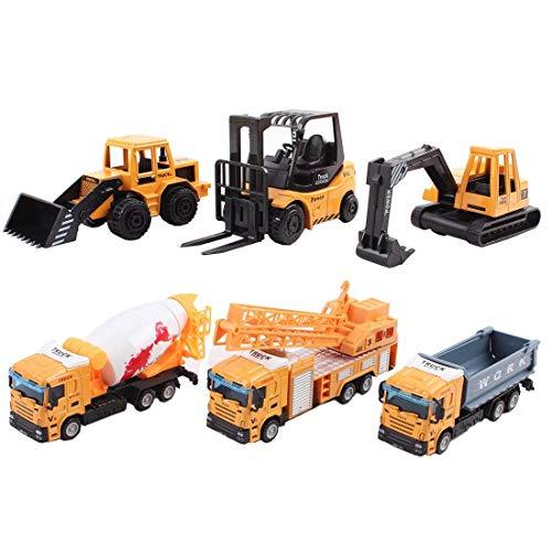 Camiones de Construcción Escala 1:64, Vehículos de Obras (Pack de 6)