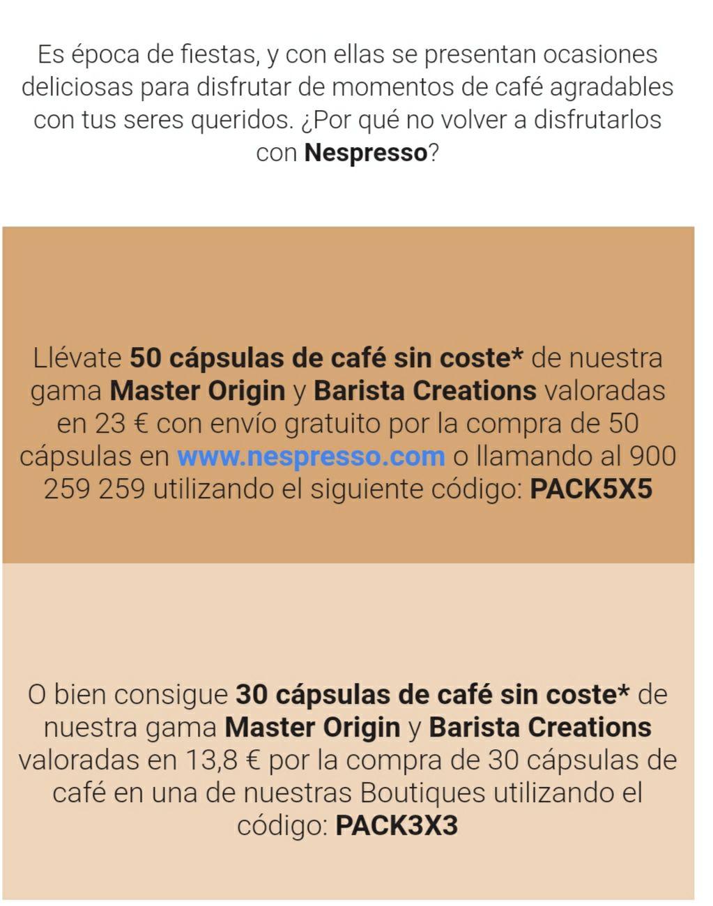 Capsulas nespresso extra con tu pedido en nespresso.com