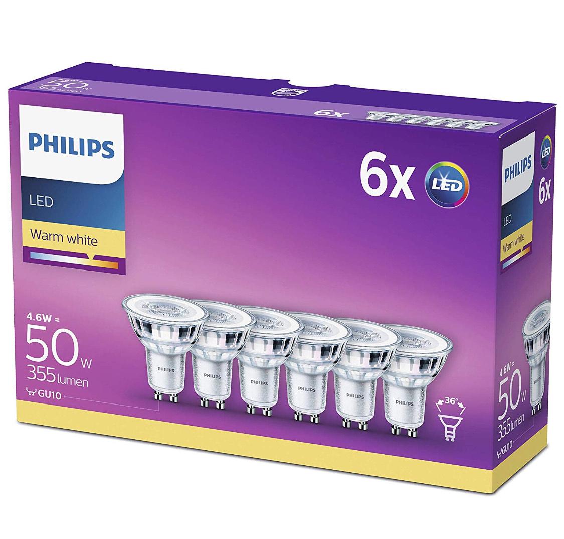 Pack de 6 Philips Bombillas LED GU10 Cristal, 4.6 W