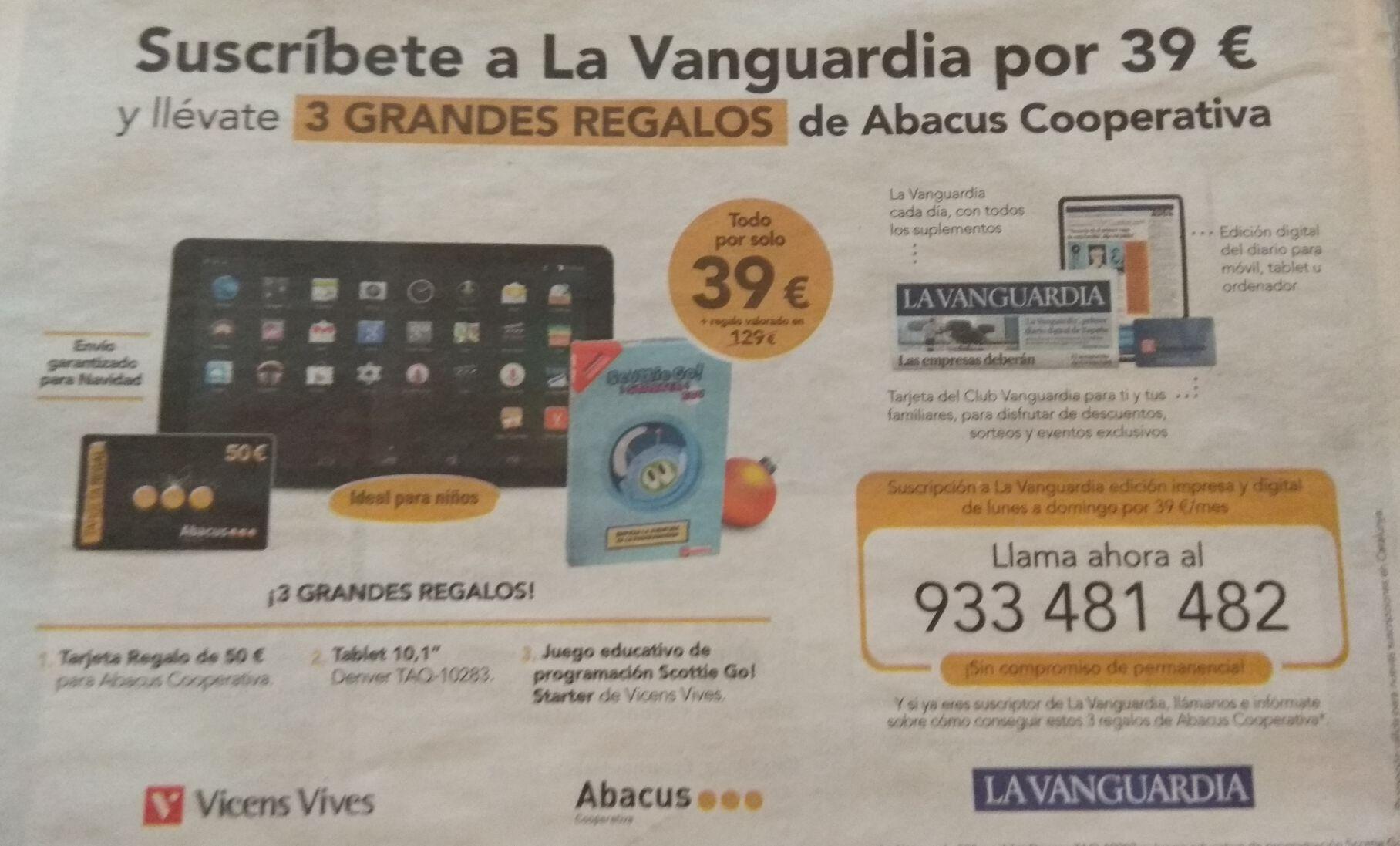 Con la suscripción (online y papel) de regalo tarjeta abacus 50€ + Tablet 10'1+Juego educativo + 2 meses HBO