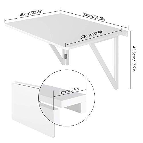 Mesa de pared plegable 80x60cm hasta 30kg