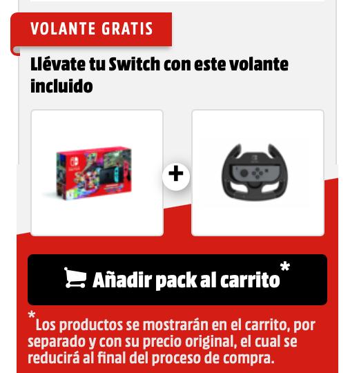 Consola Nintendo Switch + Mario Kart 8 (Código de descarga) + Volante