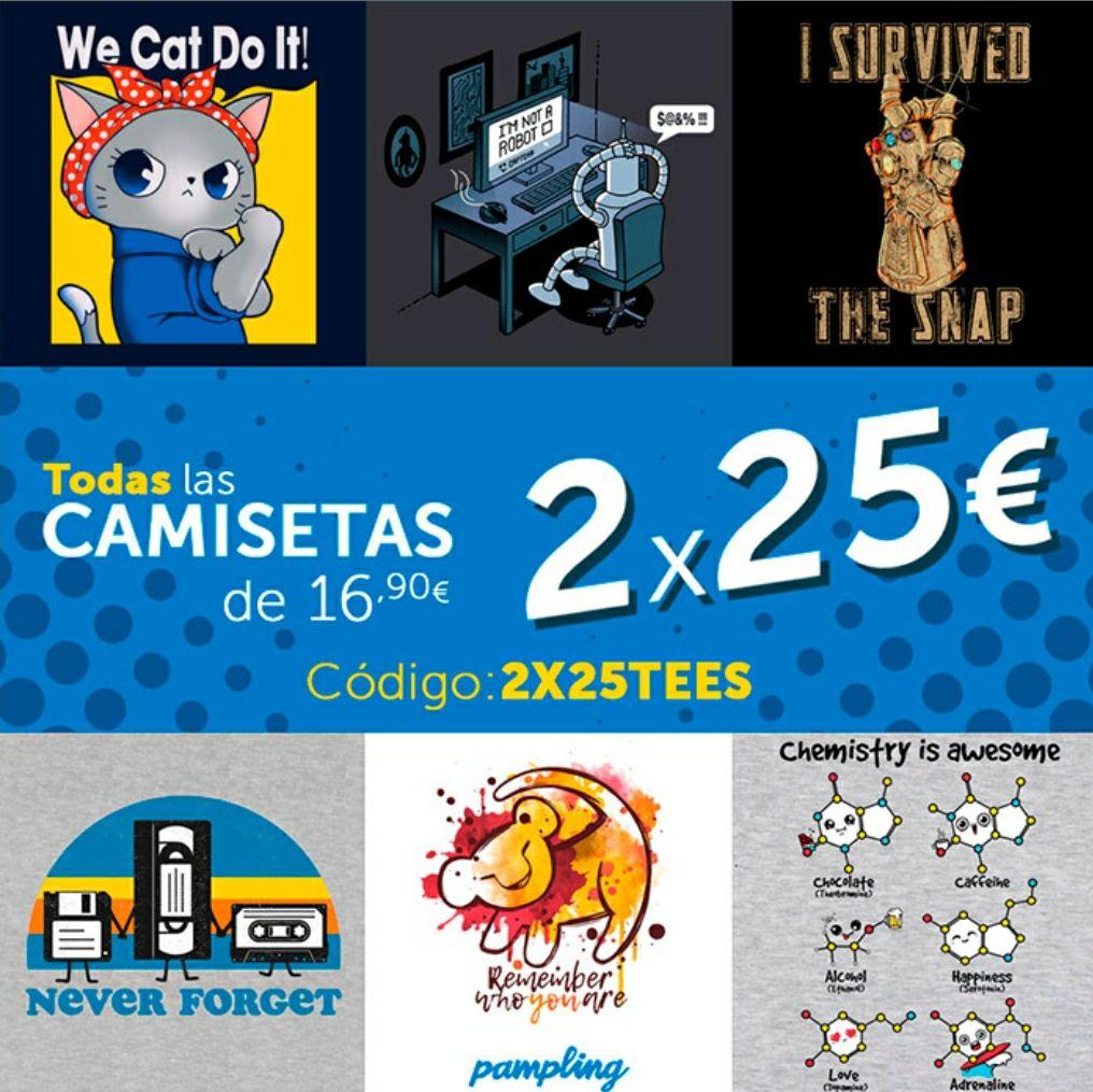 2 Camisetas por 25€ en Pampling + Envio Gratis