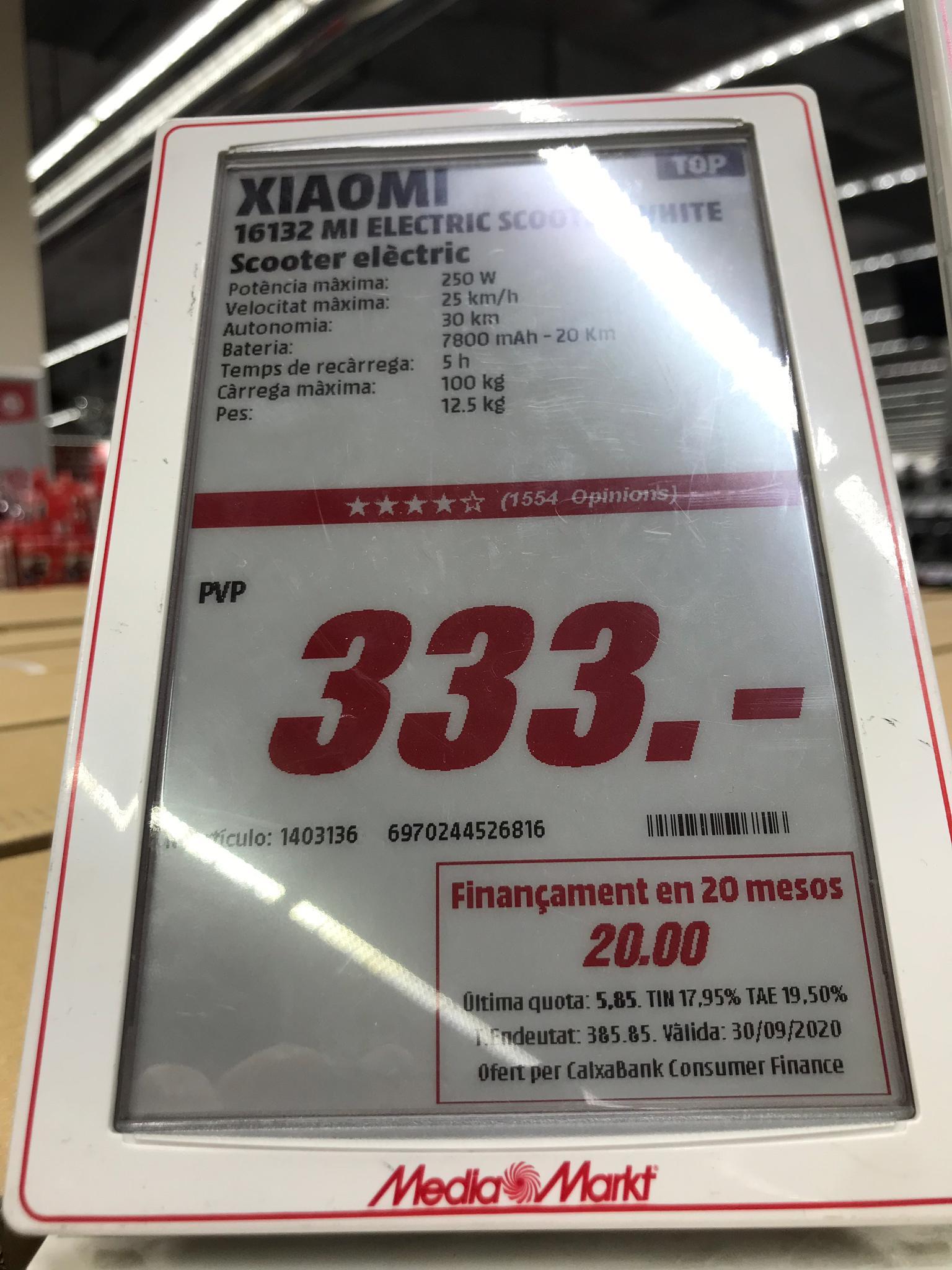 Patin Xiaomi M365 a 333€ en Media Markt (Solo tiendas no en su web)