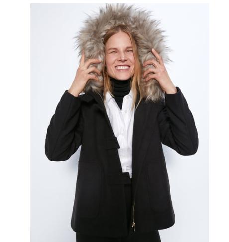 Abrigo con capucha Zara 3 colores