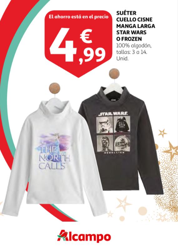 Suéter Cuello Cisne Manga Larga de STAR WARS o FROZEN para Niños (4.99€/Unidad)