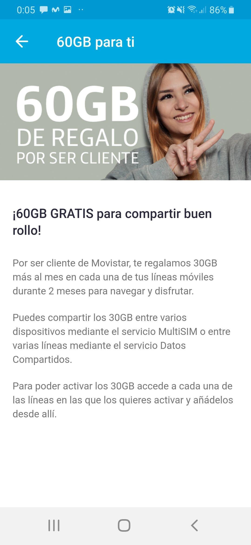 30 Gigas gratuitos para clientes Movistar