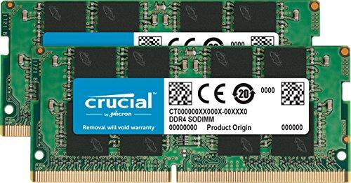 Crucial 16 GB (8 GB x 2, DDR4, 2400 MT/s, SODIMM, 260-Pin)
