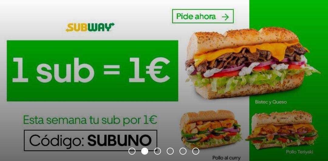 Bocadillo Subway 15 cm por 1€ en Uber Eats