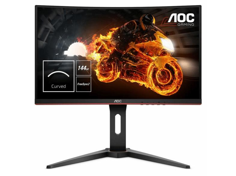"""Monitor gaming - AOC C24G1 Curvo 24"""" FULL HD, 1MS, 144HZ, LED, Negro/Rojo"""