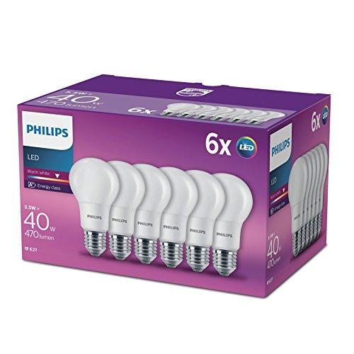 Philips - Pack de 6 bombillas E27 LED