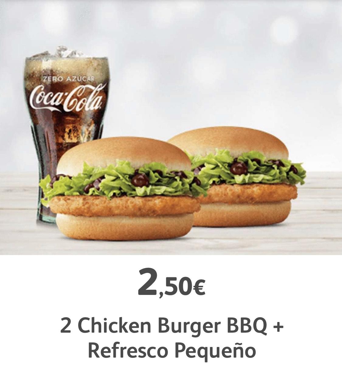 2 Hamburguesas de Pollo BBQ + Refresco Pequeño (Nivel Oro)- McDonald's