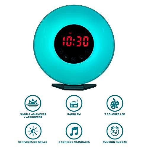 Radio reloj despertador digital FM con simulación de luz natural de amanecer y anochecer