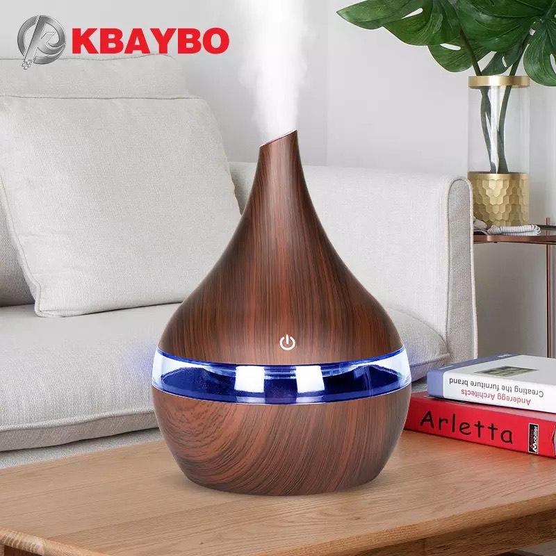 KBAYBO 300ml USB difusor de aire eléctrico, humidificador de aire aceite esencial