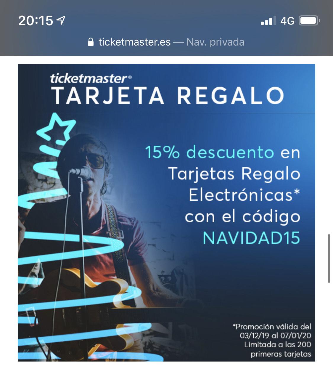 15% descuento en TicketMaster