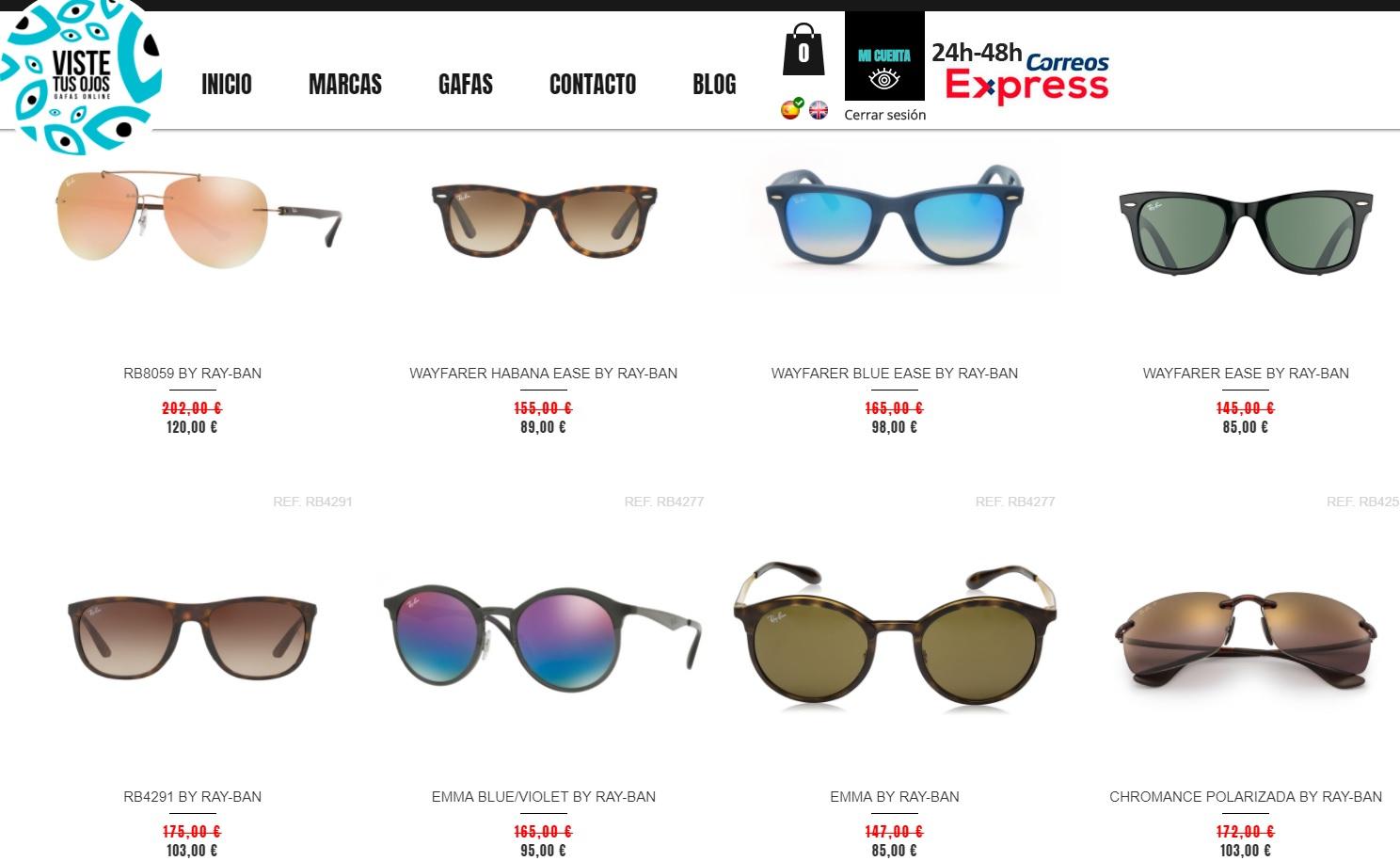Entre 30% y 45% en gafas de sol RayBan