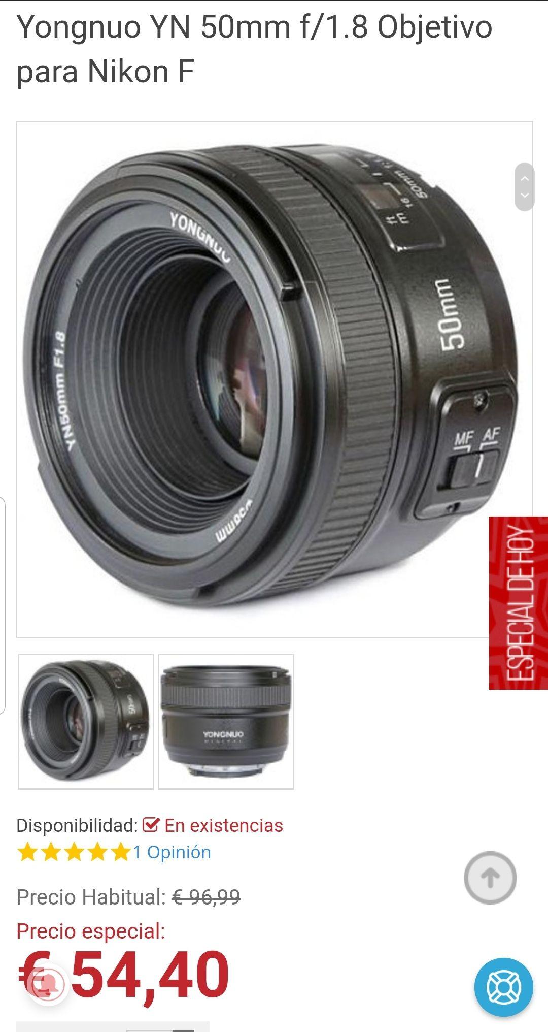 Objetivo YONGUO compatible con Nikon 50mm /1.8