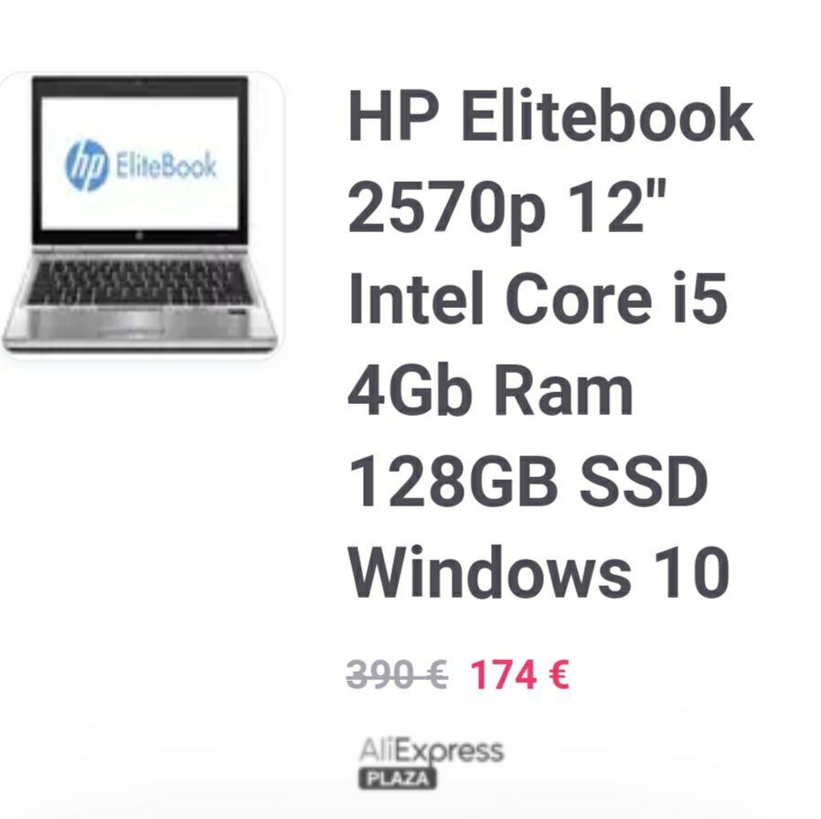 "HP Elitebook 2570p Ordenador Portatil 12"" Intel Core i5 4Gb Ram 128GB SSD Windows 10 Reacondicionado"