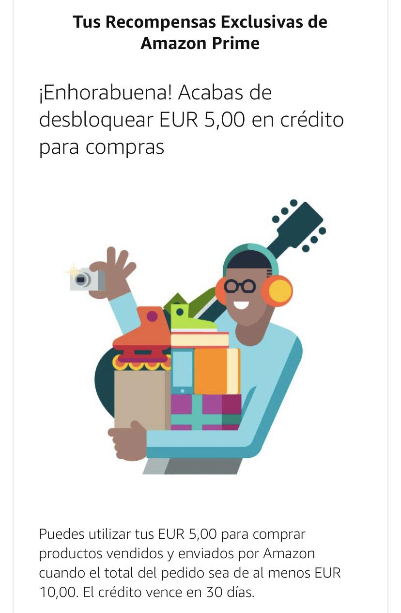 5€ gratis clientes prime (cuentas seleccionadas)