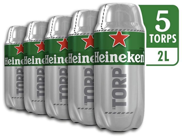 Caja de 5 Torps x 2L (10L) Cerveza Heineken solo 25€