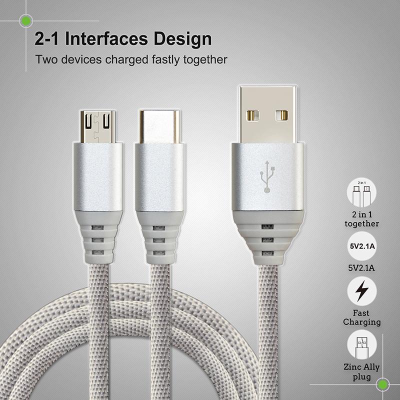 Cable 2 en 1 de 1,2m Micro USB + tipo C