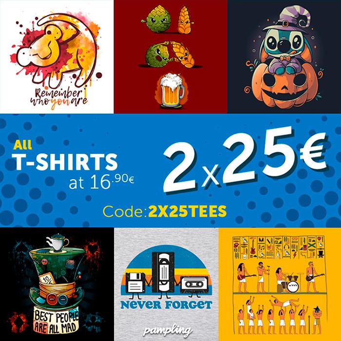 TODAS las camisetas de 16,90 a 2x25€