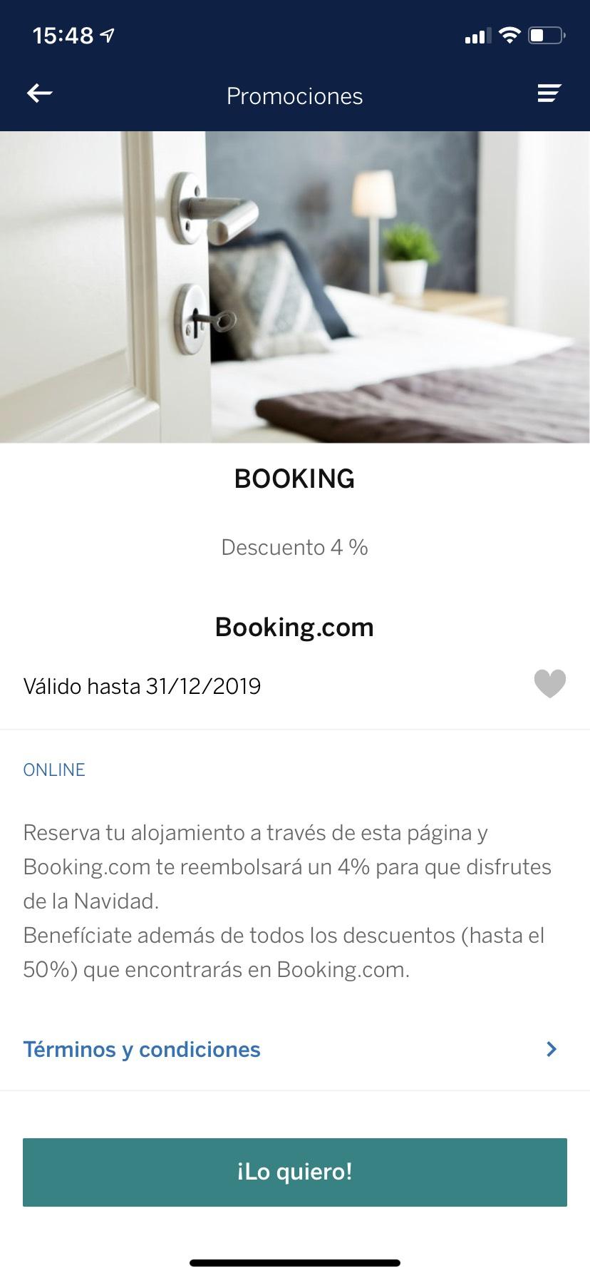 Reembolso booking.com de un 4% en reservas