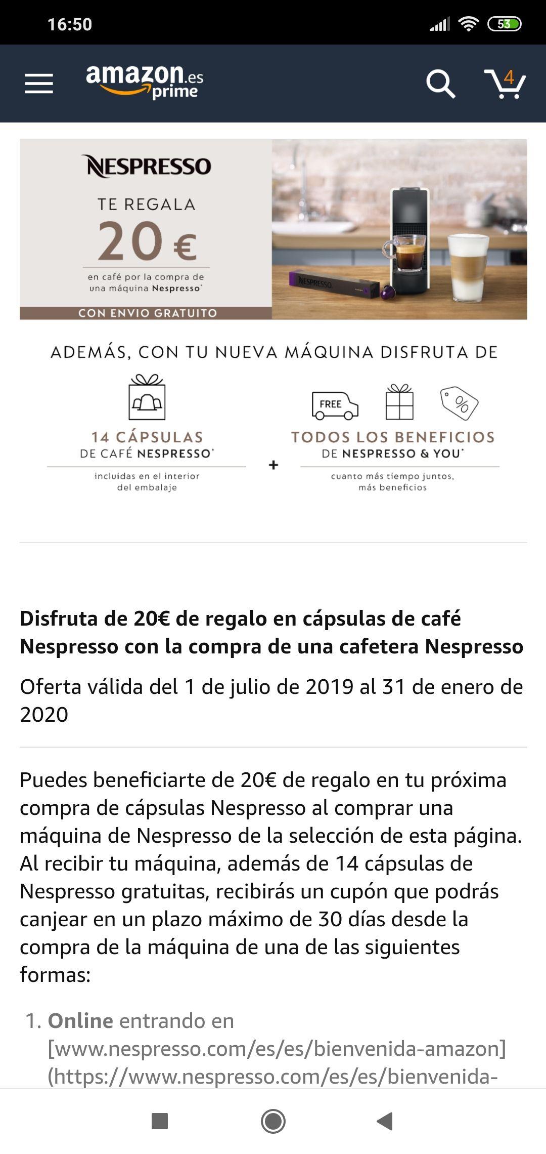 Nespresso te regala 20€