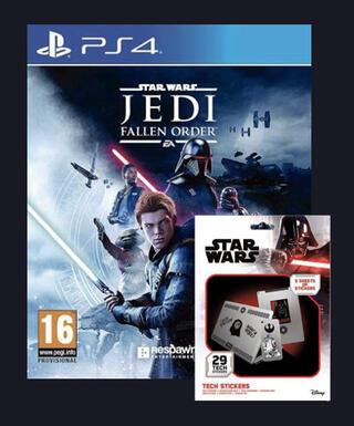 Star Wars Jedi Fallen Order (PS4) + Página de stickers de la saga Star Wars