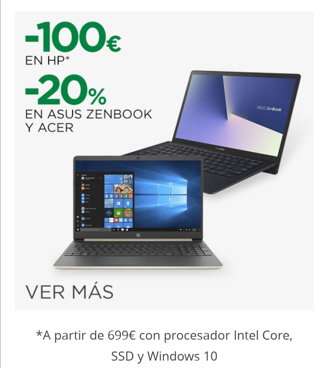 20% en Asus Zeenbook y Acer Portátiles y Monitores, y - 100€ en HP