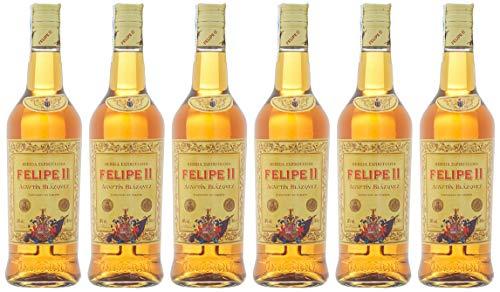 """6 botellas de bebida espirituosas """"brandy"""" Felipe II"""
