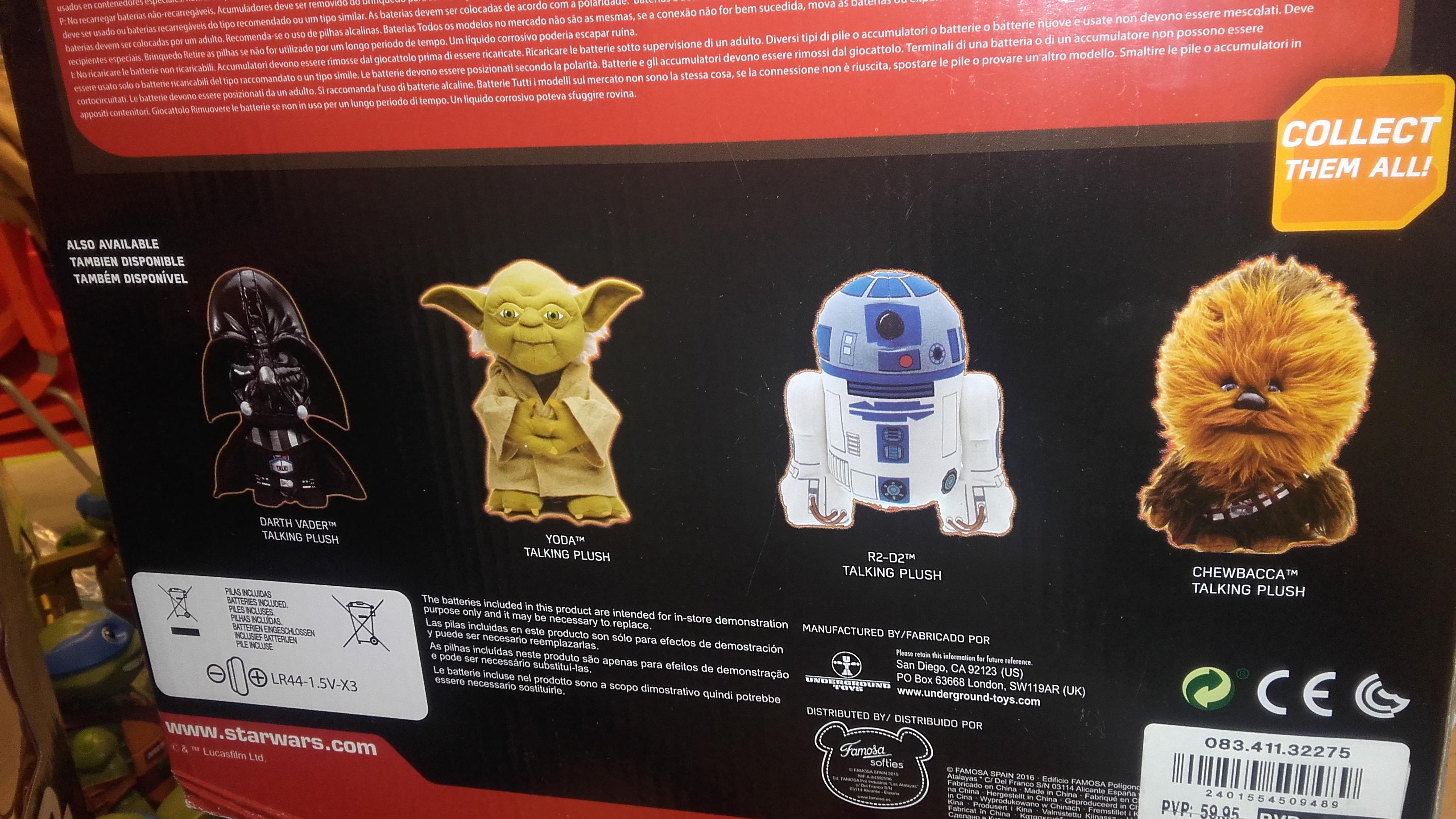 Peluches blandicos de Star Wars con sonido - Outlet Corte inglés Vista Alegre