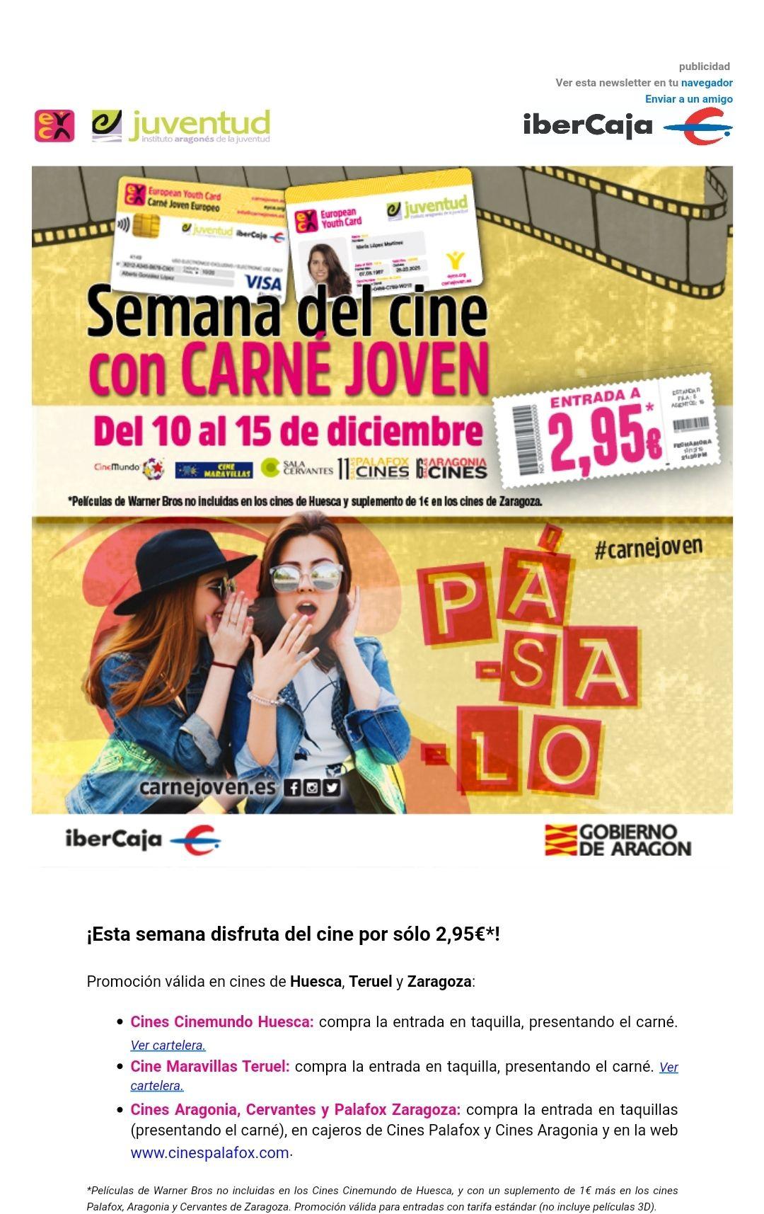 CINE EN ARAGÓN A 2,95€ CON CARNET JOVEN