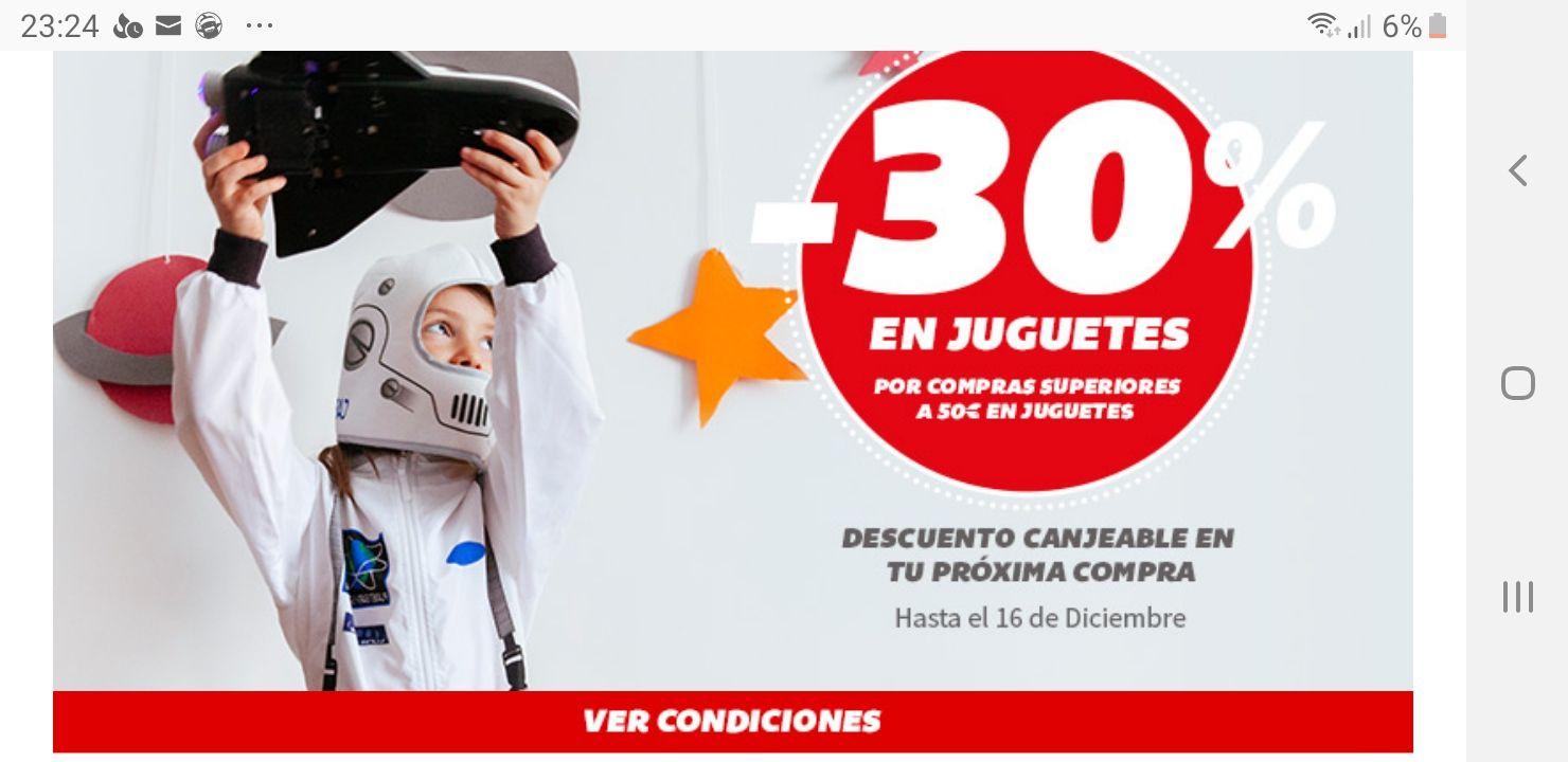 30% descuento Juguetes Carrefour en compras de + 50€ y canjeable en tu próxima compra del 17/12 al 5/01