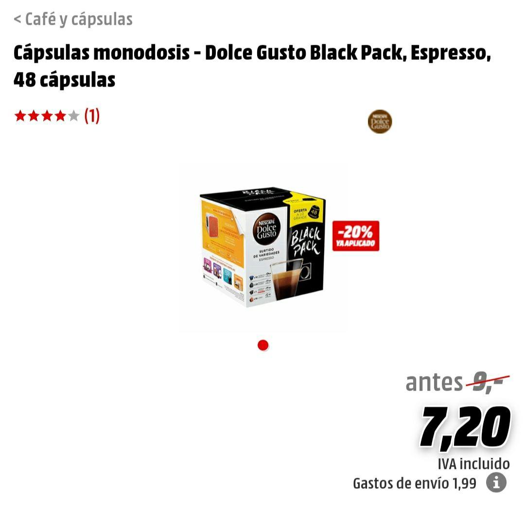 Dolce Gusto Black Pack con 48 cápsulas a muy buen precio (0,15€ la cápsula)