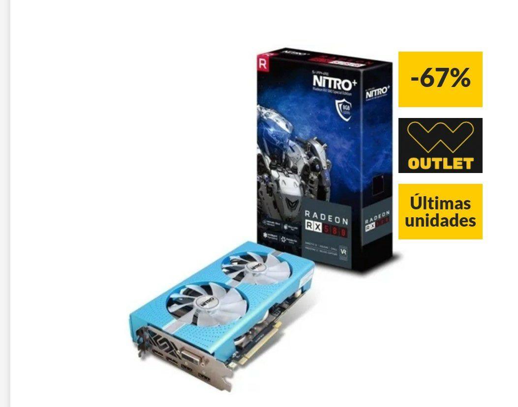 [Últimas unidades] Tarjeta Gráfica AMD SAPPHIRE Radeon NITRO+ RX580 8GB GDDR5