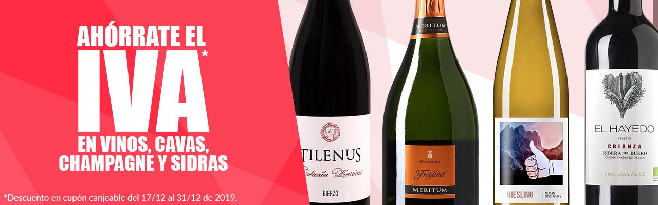 Ahorra el IVA en cupón descuento en todos los vinos en Carrefour