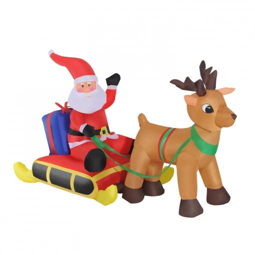 Reno y Santa Claus Hinchable de Tela