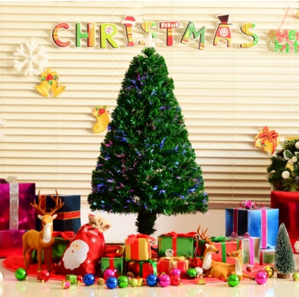 Árbol De Navidad Pequeño Con Fibra Óptica 60x120cm