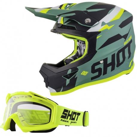 Pack casco + gafas de moto SHOT (Talla M)