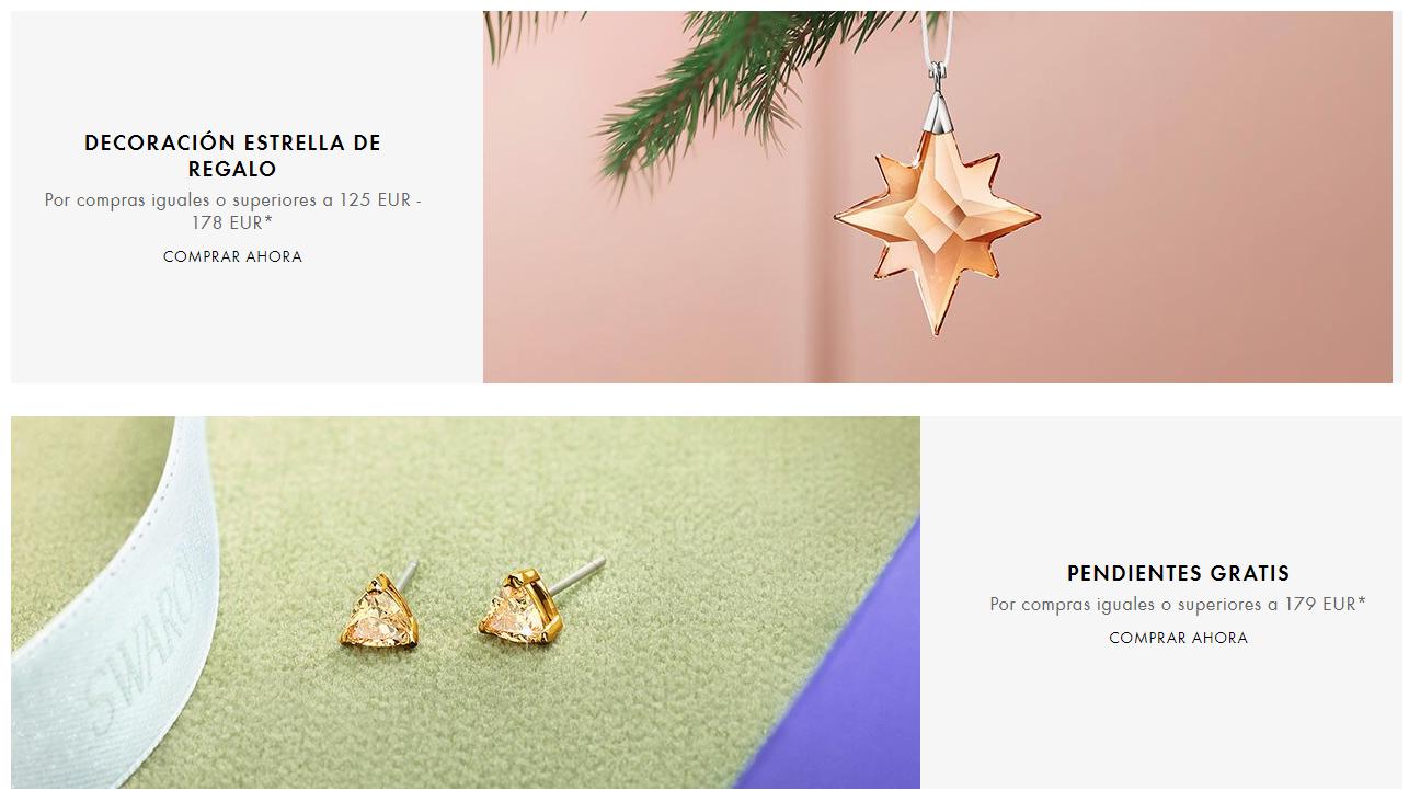 Estrella o pendientes de Swarovski de regalo con compra