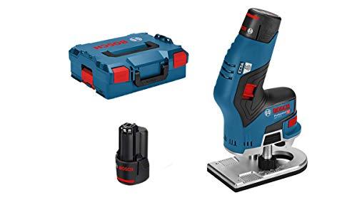 Bosch Professional GKF 12V-8 - Fresadora de cantos a batería (2 baterías x 3,0 Ah, 12V, 13000 rpm, motor EC, en L-BOXX)